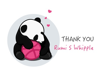 Thank You Rumi Sakuraeda whipple invitation dribbble panda thank-you first-shot