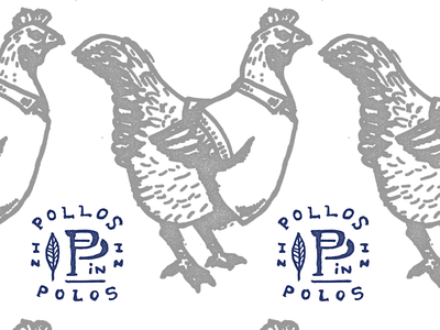 Pollos in Polos typography chicken logo hand drawn texas houston htx polo pollo