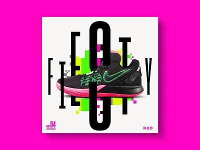 4 Feisty practice compostion layout pixel typography type neon typo nike shoes design texas htx houston feisty