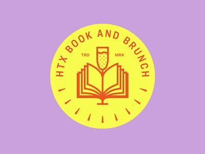HTX Book and Brunch logo bright reading books brunch champagne mimosa book logodesign logo design texas houston