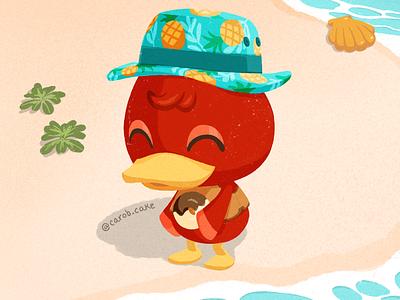 Bill wearing a bucket hat carob.cake procreate illustration character duck bill animal crossing acnh