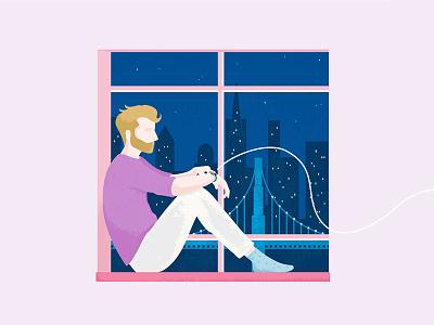 Boy looking out the window character window boyfriend illustration
