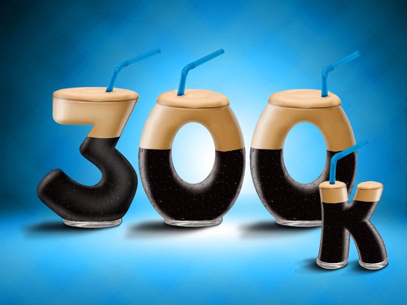 300K frappe nescafe illustration coffee typography 300 drink