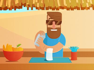 Barista illustration vector bar fruits summer beach shaker shake bartender barman barista