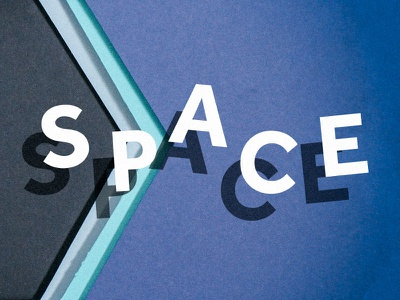 Space typography paper paper cutout
