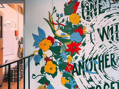 Tara Building mural handlettering typography graphic design illustration dublin handpainted wall art mural
