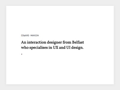 2017 Portfolio Homepage Design belfast user interface web design ui typography website minimal white black portfolio