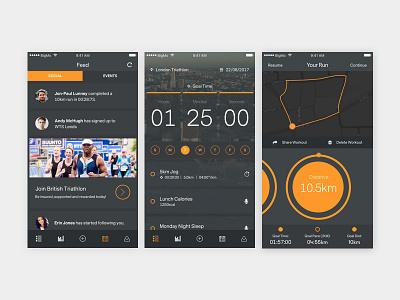 Event Training App Design app design ui design dark ui grey dark timer icons map triathlon events training app orange