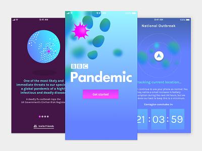 BBC Pandemic App Design light ui dark ui virus medical design slider timer tracking interface app application ui