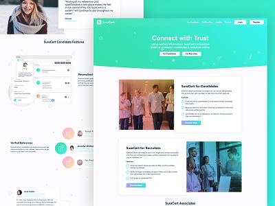 SureCert Marketing Website Homepage curve icons blue green website ui web design gradient gradients recruitment