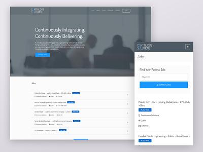 Continuous Solutions Website Homepage web design mobile jobs responsive blue grey ui website