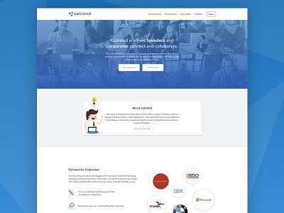 Colinked Marketing Website grid typography grey web design illustration logo gradients icons blue website ui
