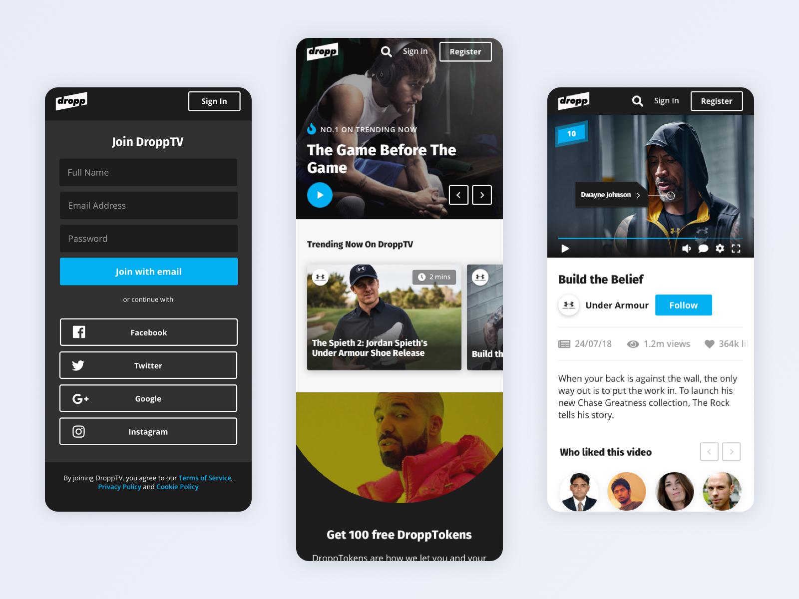 Whitespace dropptv mobile screens