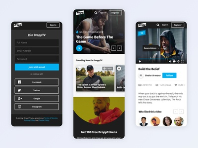 DroppTV Mobile Interface