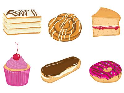 Cakes cakes baking handdrawn illustration