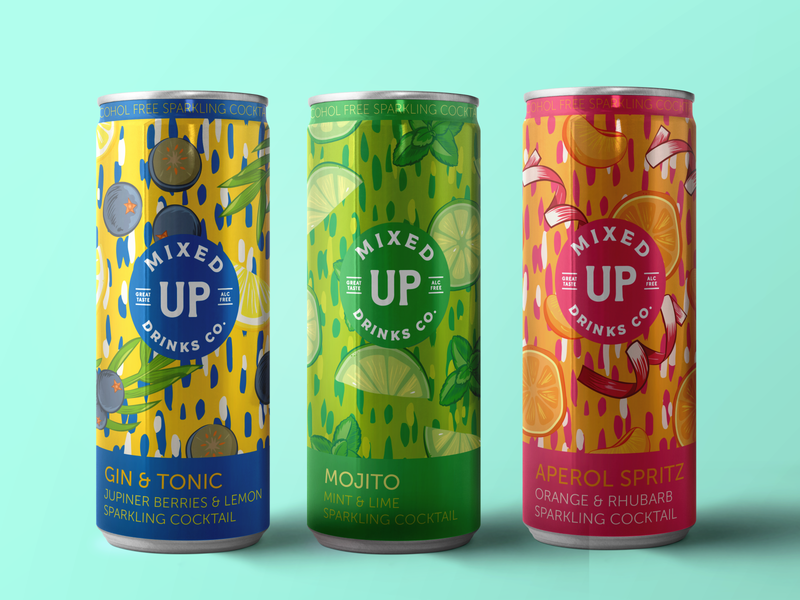 MIXED UP DRINKS CO package design vector handdrawn graphic design illustration