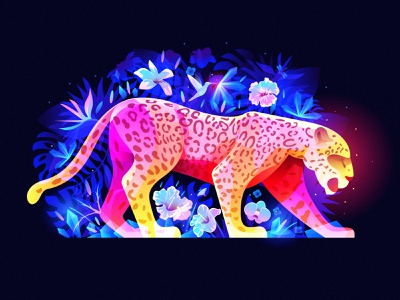 magic beast in crystal jungle magic dream fantasy colibri flower floral jungle beast