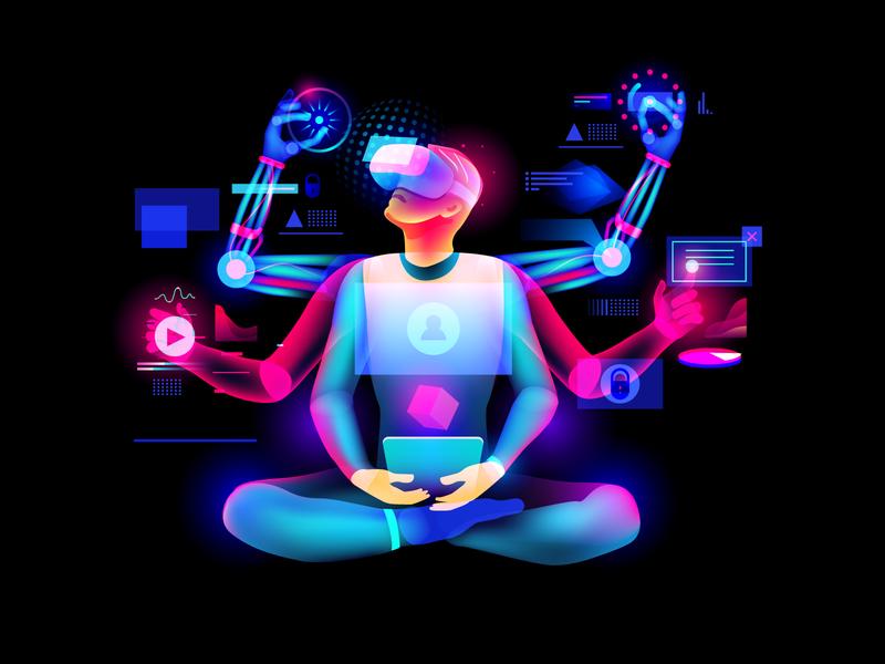 cyberman illustraion light ui futurism digital cyberpunk