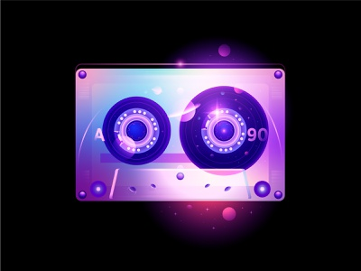 retrowave galaxy space retrowave cassette tape