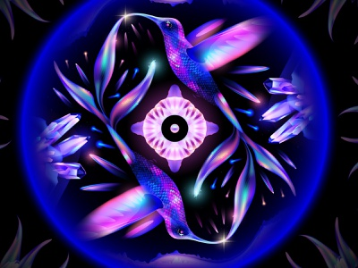 Parallel World graphic design hummingbird colibri light color dream illustration space fantasy overlay