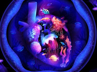 Ocean Heart color medusa jellyfish fish coral water vectorart adobe illustrator graphic design kalamint heart ocean illustration dream space fantasy light overlay nftart nft
