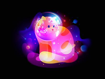 Dreams of Space Cat light video design illustration dream color fantasy nft space cat