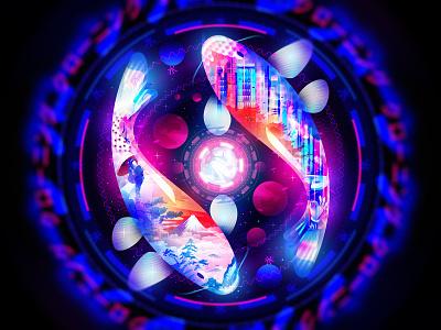 KOI japan koi fishes overlay light design illustration dream space fantasy nft