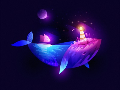 Whale 2021 lighthouse ocean color space design dream overlay light fantasy illustration whale