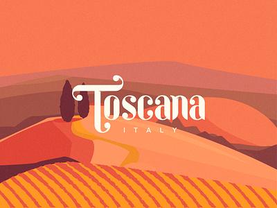 Toscana landscape letter typography italy tuscany toscana