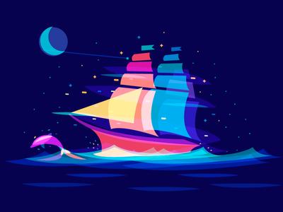 Dream Ship sail wave night ocean dolphin ship overlay dream