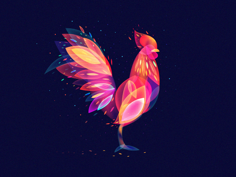 Fantastic Rooster overlay snow light fire flame rooster