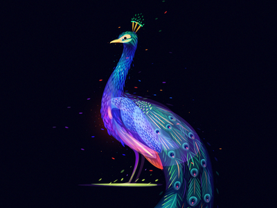 Fantasy Peacock space water wave bird light peacock