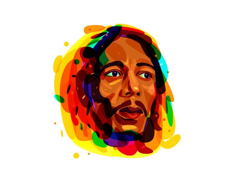 Psychedelic Bob Marley portrait rastaman color overlay marley bob psychedelia