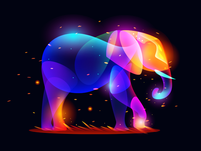 Fantasy Elephant illustration fairytale dark color light fantasy elephant