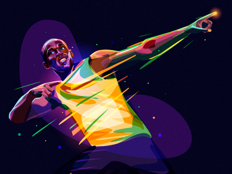 Usain Bolt jamaica color portrait winner olympic runner star bolt