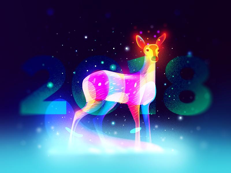 Fawn 2018 fairytale snow deer year new 2018