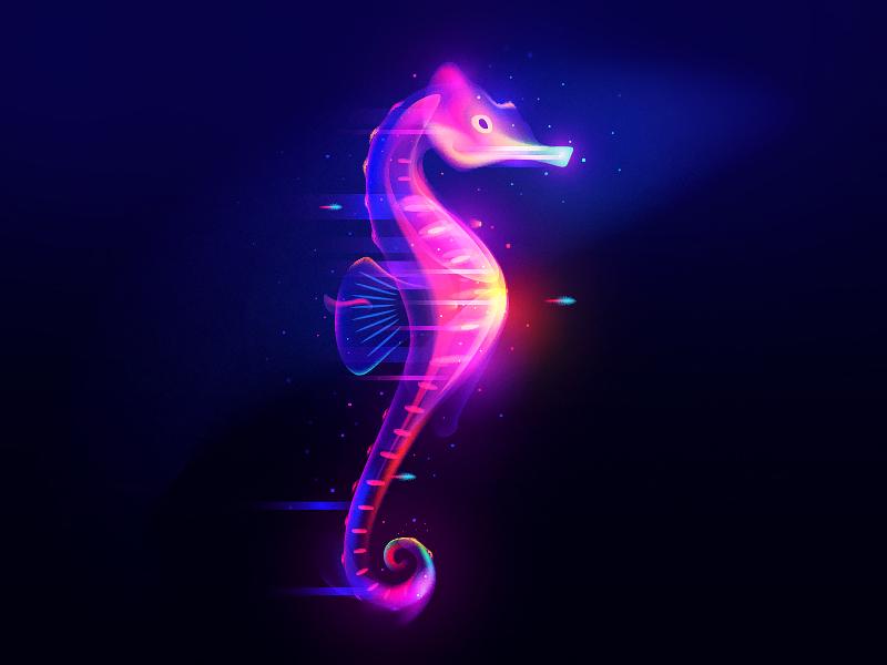 Seahorse light fantasy seahorse