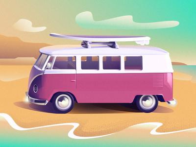 Bus beach ocean surf sanfrancisco california bus