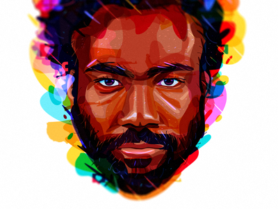 Childish Gambino colorful art 2018 person portrait illustration perfomance singer childish gambino portrait thisisamerica