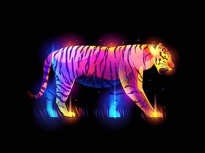 Fantasy Tiger colorful beast fur animal illustration fantasy light tiger