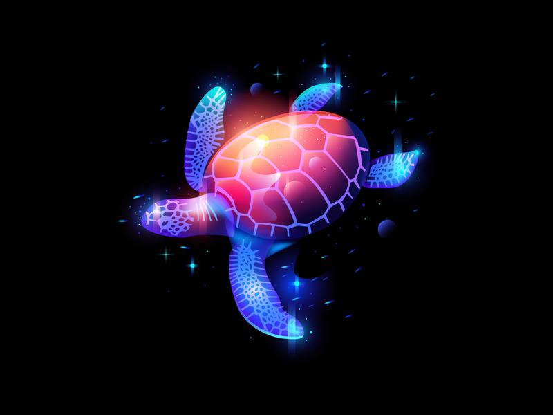 Deep Ocean light fantasy dream sea illustration set space ocean turtle