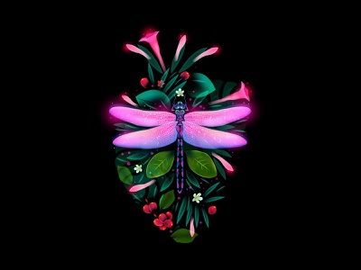Beauty Of The Moment (static) flowers dragonfly heart dream light fantasy