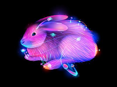 Rabbit brain forest mushroom illustration rabbit