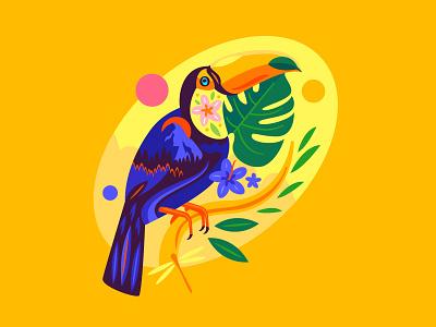 Toucan sun flowers bird landscape toucan