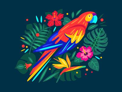 Parrot jungle plants flowers leaves parrot