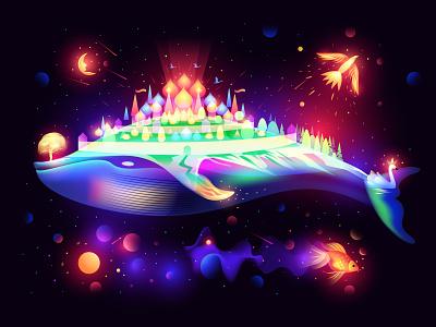 Russian Fairytales space fantasy light dreaming city chudo-udo-ryba-kit whale fairytale