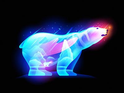 polar dreams illustration color overlay polar snow night winter dreams fairytales polar bear