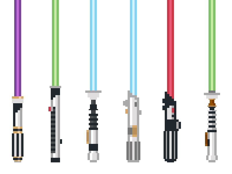 Pixel Lightsabers skywalker luke darth vader anakin obi-wan qui-gon jin mace windu star wars jedi lightsabers pixels