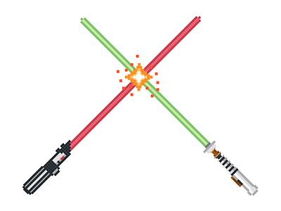Pixel Jedi Battle luke skywalker darth vader lightsabers star wars