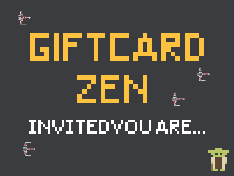 Giftcard Zen Party Invites x-wing yoda pixels star wars